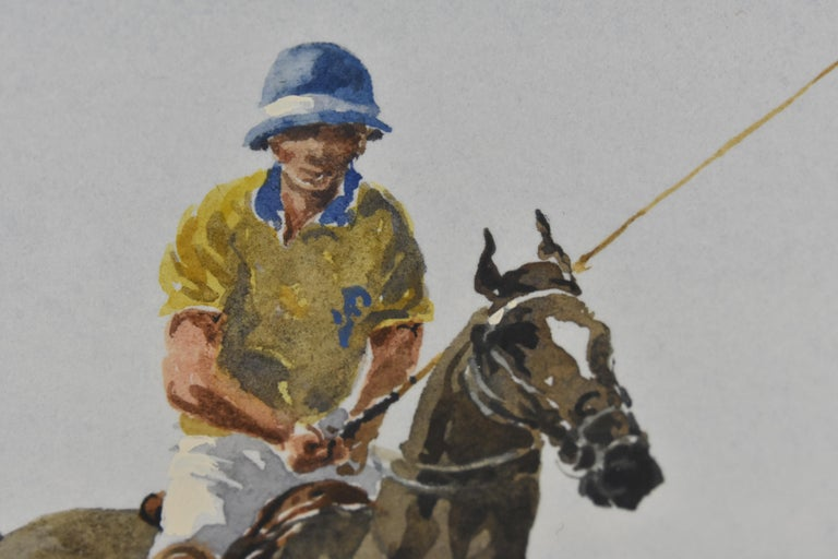 Les Jouers de Polo - Polo players, watercolor, French artist, sports, horses For Sale 12