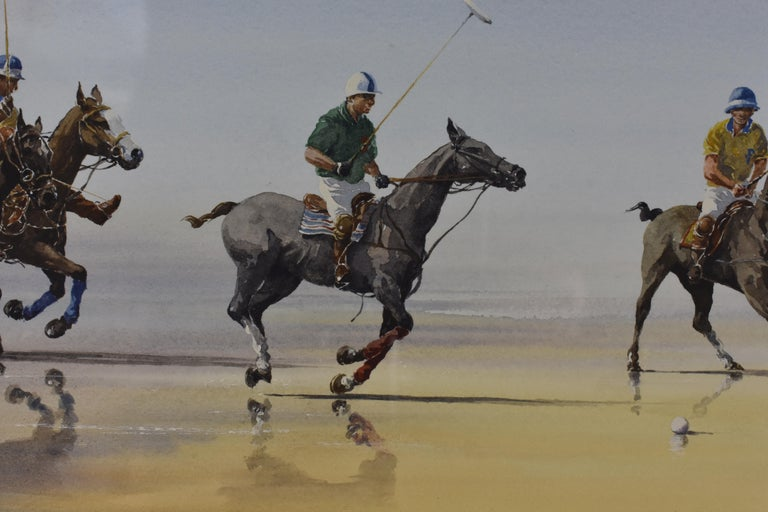 Les Jouers de Polo - Polo players, watercolor, French artist, sports, horses For Sale 2