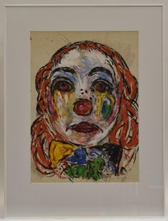 Sad Clown - mixed media on paper, dutch artist, colorful, Abstract, Expressive
