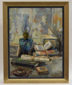 Stillife books and lamp - impressionist dutch