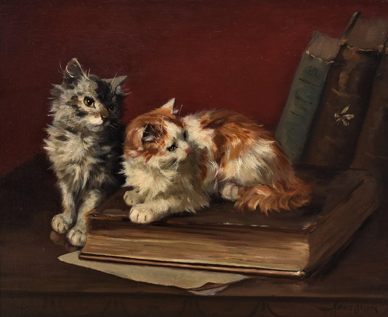 Maurice Jabbier Animal Painting - Two cats with book and insects