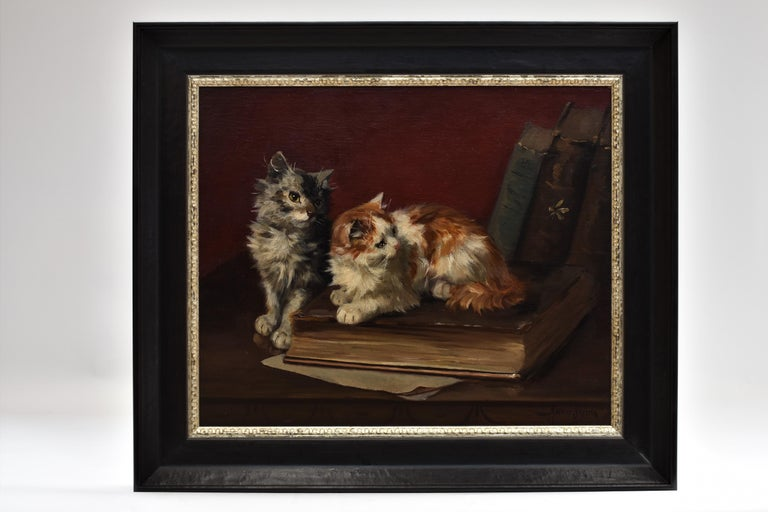 Two cats with book and insects - Painting by Maurice Jabbier