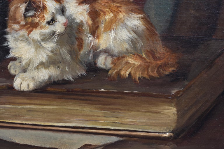 Two cats with book and insects For Sale 1