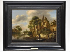 Townview with figures - Golden Age, Realism, Classic, Dutch , Old Master.