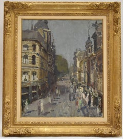 Lange Poten in The Hague - Impressionist, Dutch artist, oil on canvas, cityscape
