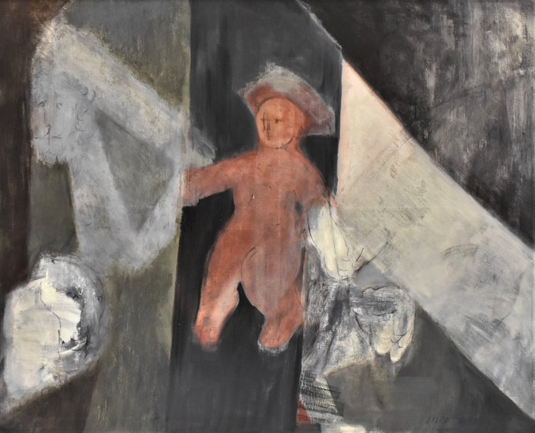 Child with Oed´s Lion, Abstract figure, Oil paint on canvas - Painting by Siiri Spronken