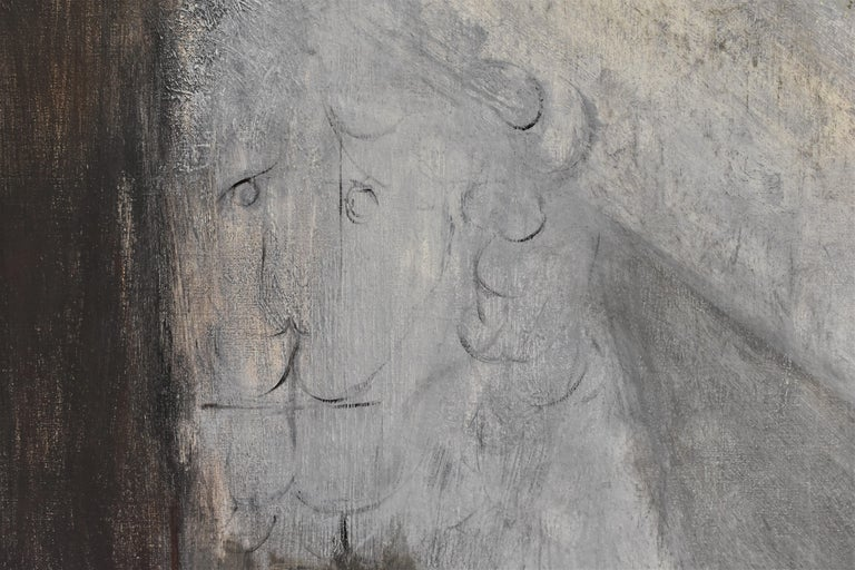 Child with Oed´s Lion, Abstract figure, Oil paint on canvas - Black Abstract Painting by Siiri Spronken