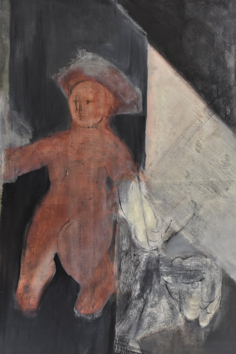 Child with Oed´s Lion, Abstract figure, Oil paint on canvas For Sale 1