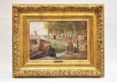 'Bij de sluis', Near the lock, Oil paint on board, Belgian school, 19th century