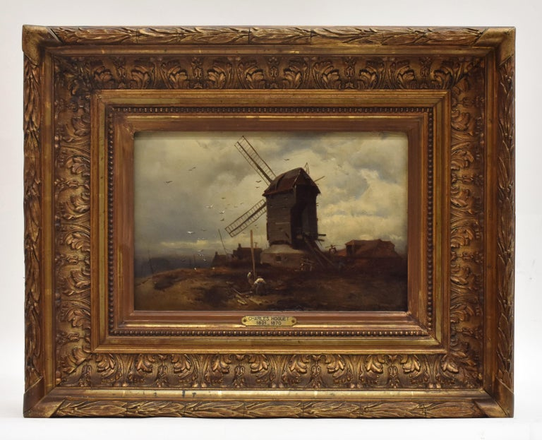 Charles Hoguet Figurative Painting - landscape with windmill, oil paint on panel, Barbizon school, dated 1859