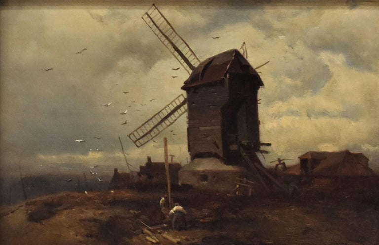 landscape with windmill, oil paint on panel, Barbizon school, dated 1859 - Painting by Charles Hoguet