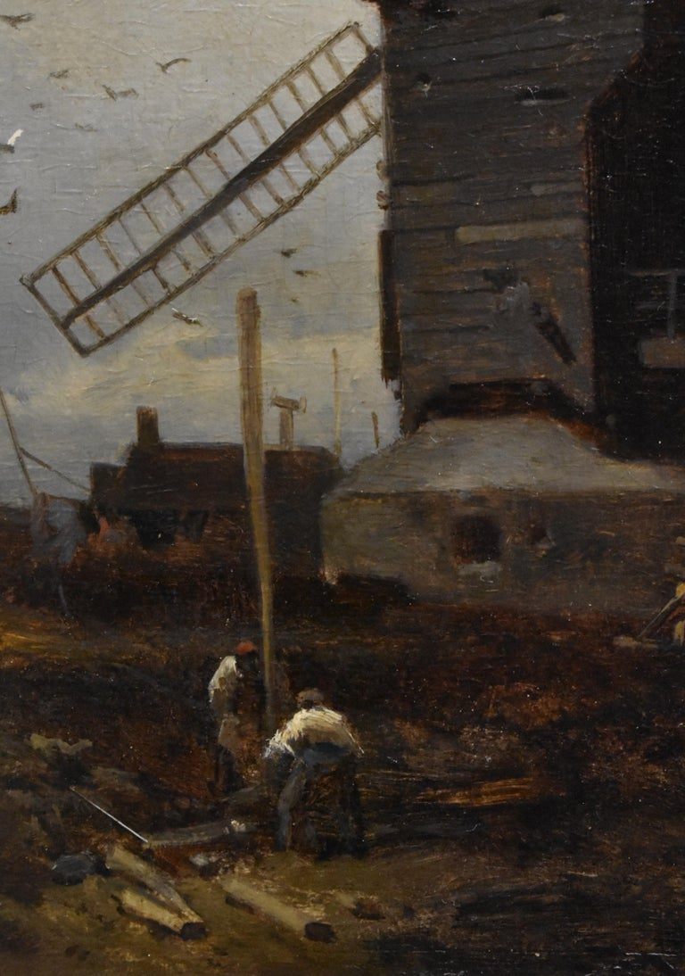 landscape with windmill, oil paint on panel, Barbizon school, dated 1859 For Sale 2