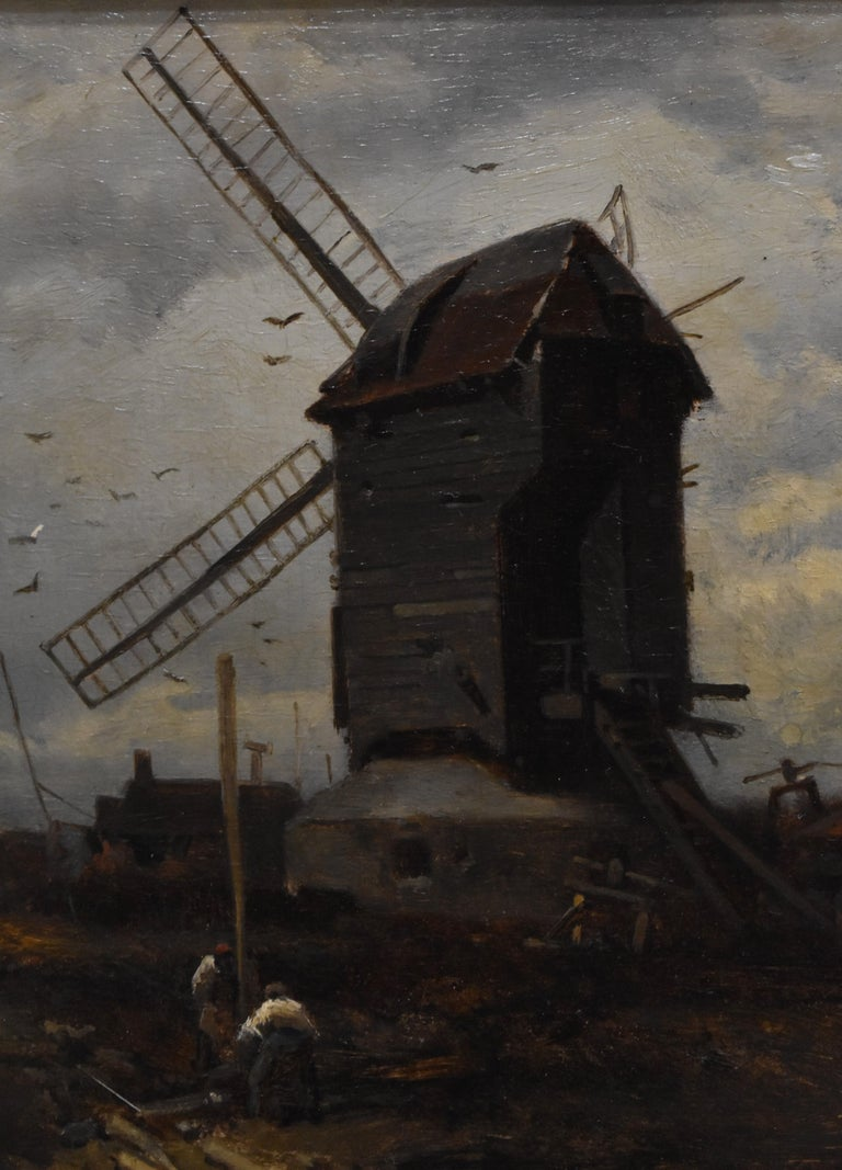 landscape with windmill, oil paint on panel, Barbizon school, dated 1859 For Sale 1