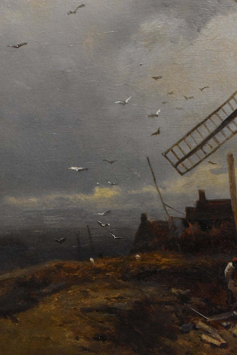 landscape with windmill, oil paint on panel, Barbizon school, dated 1859 For Sale 3