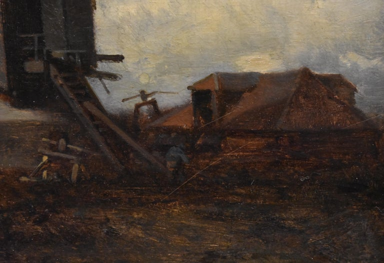 landscape with windmill, oil paint on panel, Barbizon school, dated 1859 For Sale 4