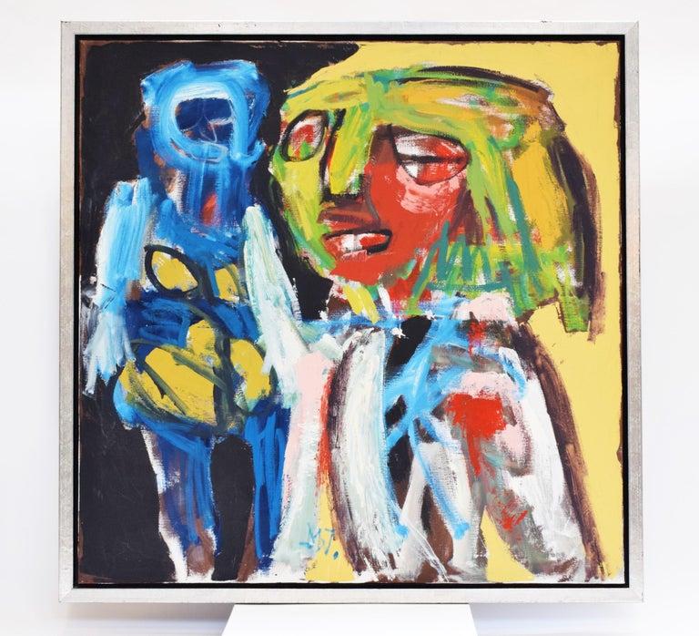 'Bedreigd volk', Threatened people, Martin van Wordragen, Oil paint on canvas - Painting by Martin van Wordragen