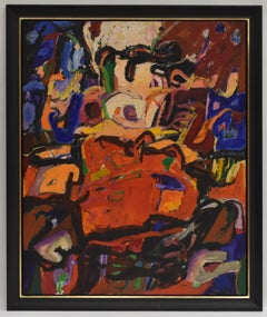 Abstract Z.T., Ad Snijders, Oilpaint on masonite, signed and dated 1991