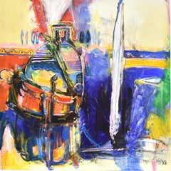 Abstract - Dutch Mart Seijkens Expressionist Boats Harbor France