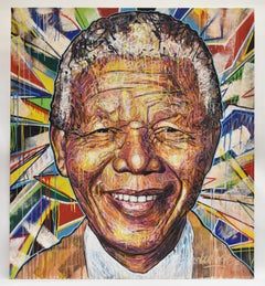 Nelson Mandela portrait, mixed media, Nowart, signed, black Lives Matter
