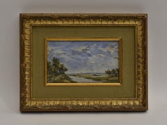 Polder landscape Willem Roelofs Haque School Impressionist Dutch Watercolor