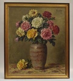 Still-life Roses - Dutch artist Frans Kops, Signed, Impressionist Realist Flower