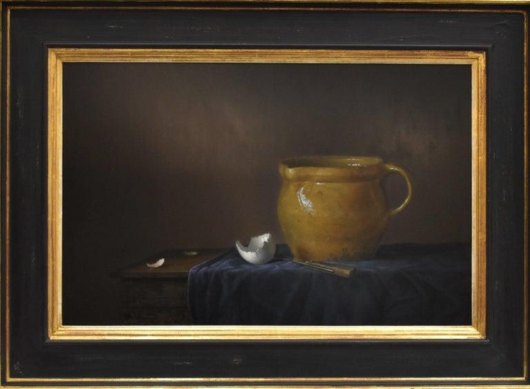 Yellow jug with egg - Peter van den Borne - Realist Painting by Peter van den Borne