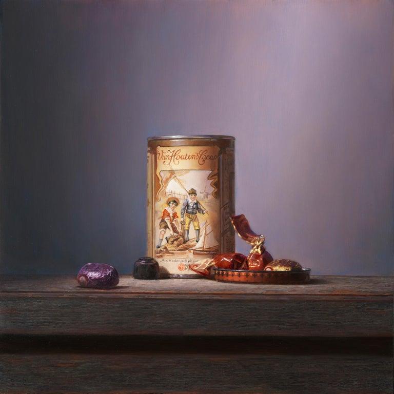 Van Houten tin with chocolates - Peter van den Borne - Painting by Peter van den Borne