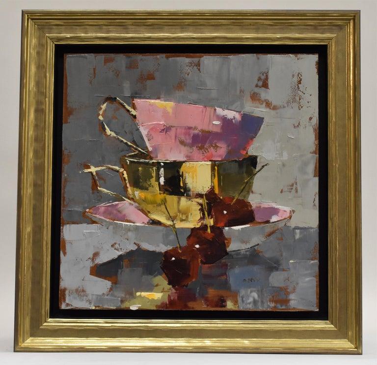 Tasty - Ans Debije Dutch Realist Impressionist - Gray Still-Life Painting by Ans Debije
