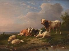 Cows and sheep near a brook - Classical Art Animal Oil Canvas Ornament Frame
