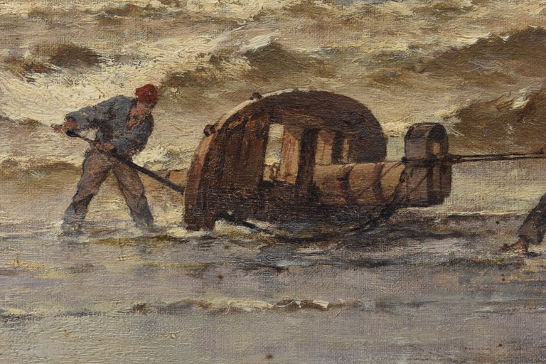 Coastal view with fisherman at rough weather - Classical Art Ornament Frame For Sale 6