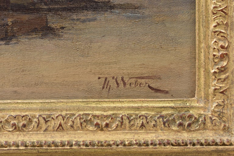 Coastal view with fisherman at rough weather - Classical Art Ornament Frame For Sale 15