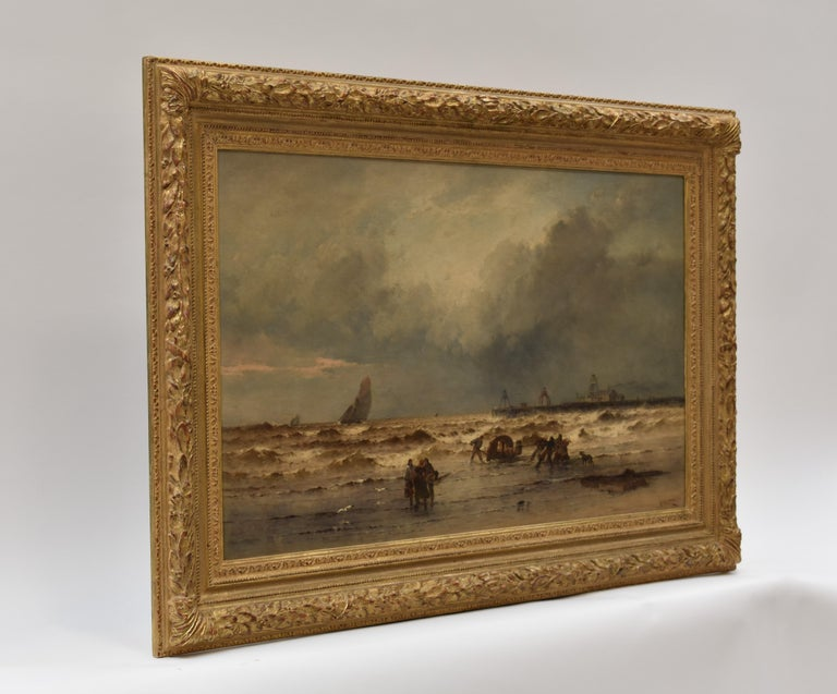 Coastal view with fisherman at rough weather - Classical Art Ornament Frame For Sale 17