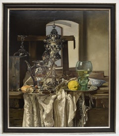 Still life with silver goblet - Classical Art Oil Canvas Painting