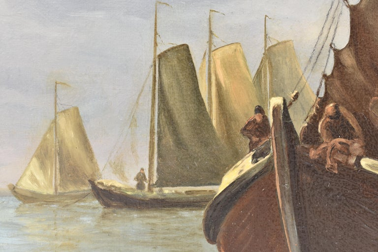 View on Dutch water with boats - Classical Art Romantic Canvas Ornamental Frame For Sale 4