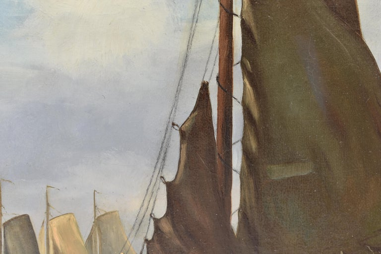 View on Dutch water with boats - Classical Art Romantic Canvas Ornamental Frame For Sale 7
