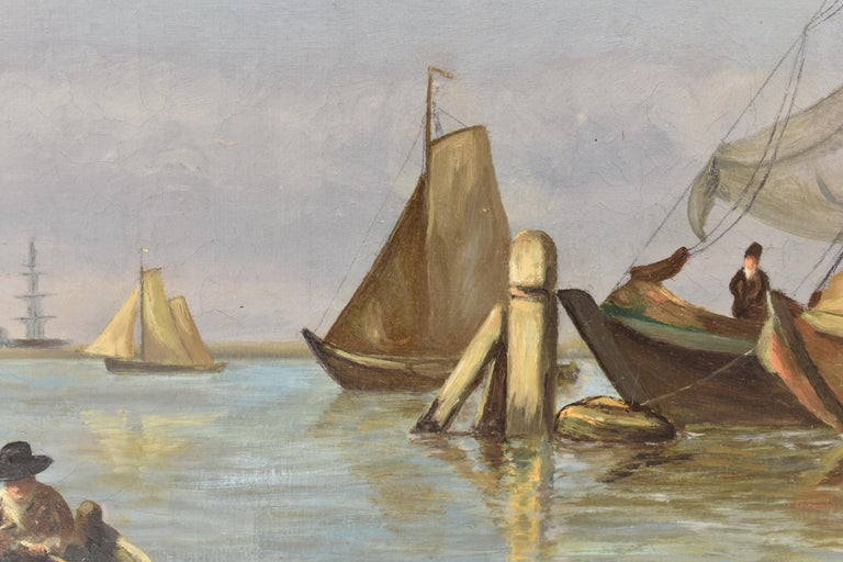 View on Dutch water with boats - Classical Art Romantic Canvas Ornamental Frame For Sale 6