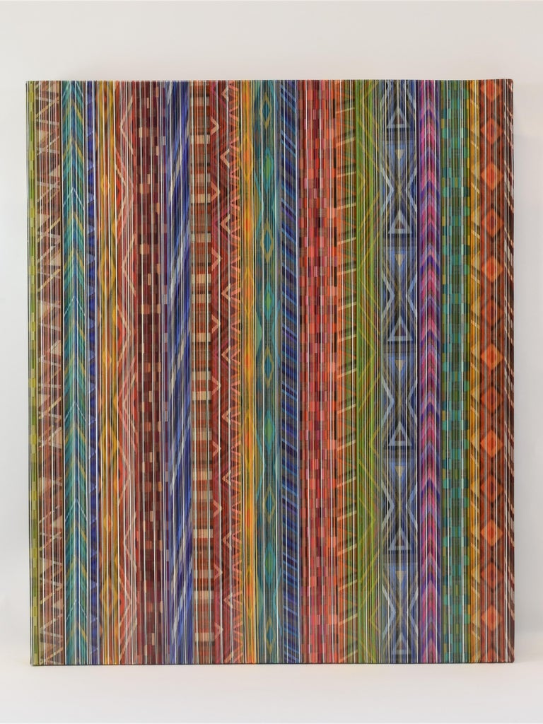Jacqueline Bozon Abstract Painting - Ancient Connections 2 - Colorful Lines Abstract Ibiza Depth