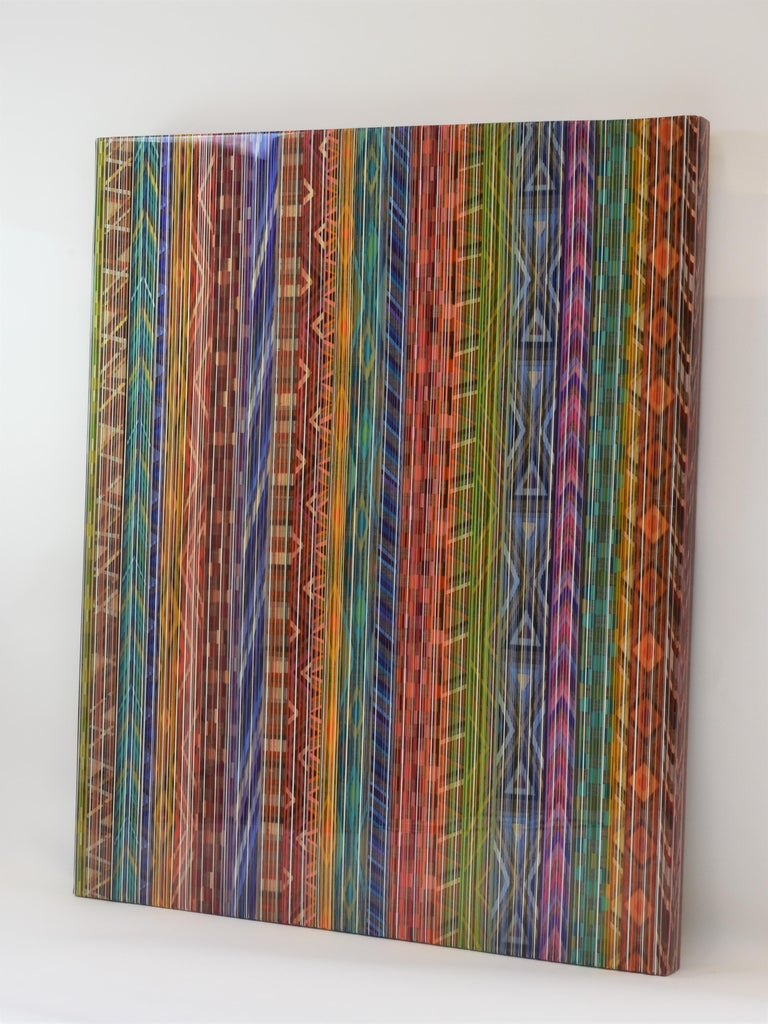 Ancient Connections 2 - Colorful Lines Abstract Ibiza Depth  For Sale 9