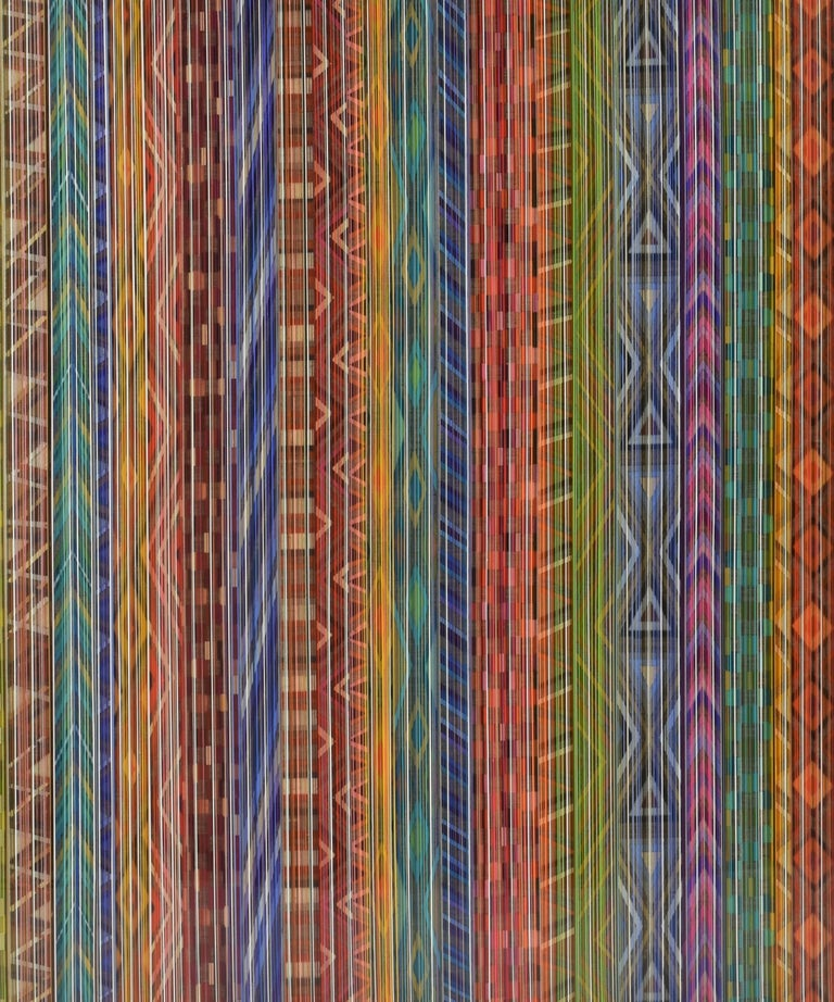 Ancient Connections 2 - Colorful Lines Abstract Ibiza Depth  - Painting by Jacqueline Bozon