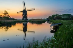 Dutch landscape with mill - Photography Dibond Travel Waterfront Sunset Colour