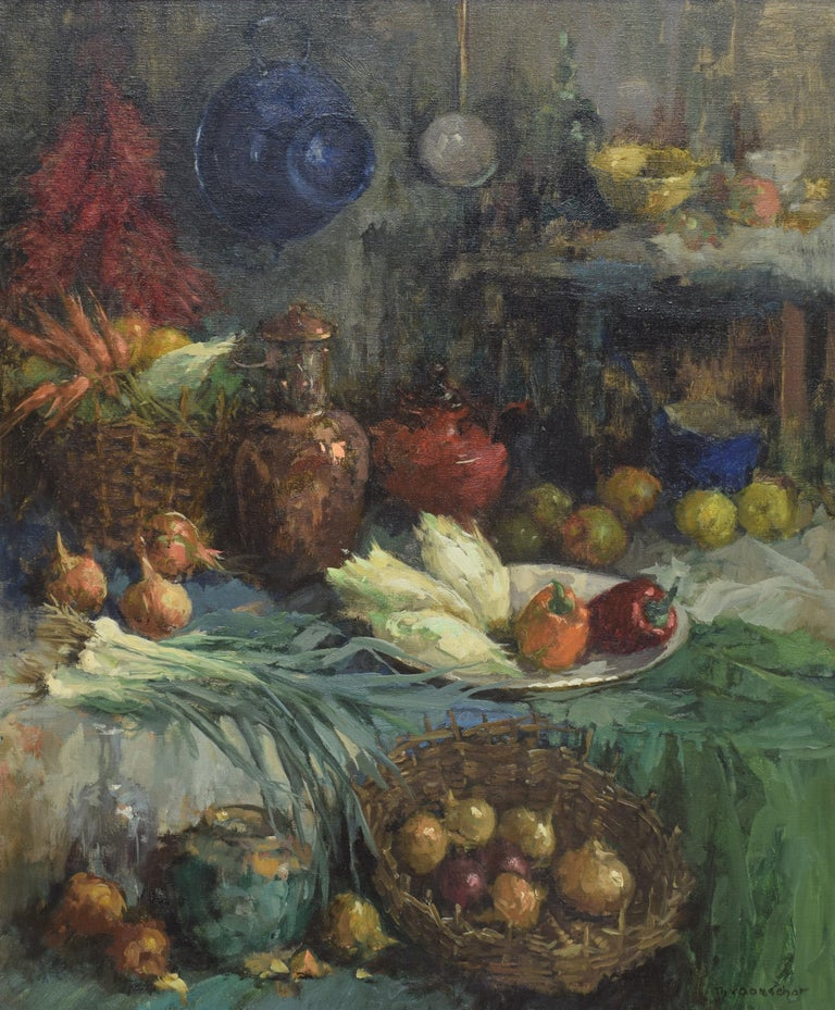 Still life with vegtables in baskets and vases - Impressionist Colorful  - Painting by Theodorus Van Oorschot