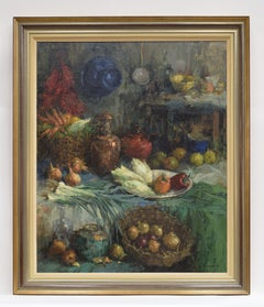Still life with vegtables in baskets and vases - Impressionist Colorful