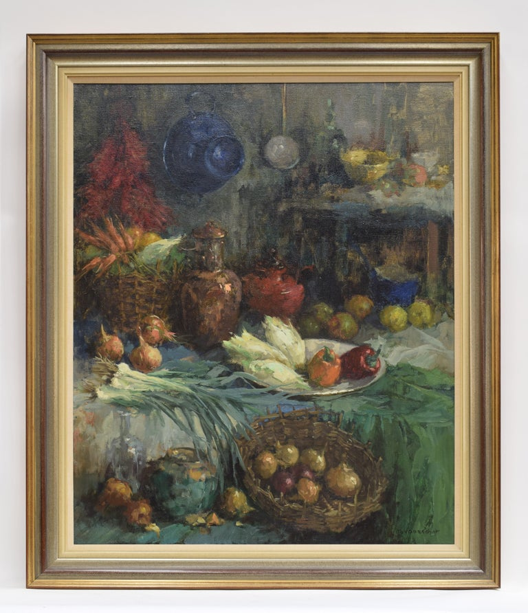 Theodorus Van Oorschot Still-Life Painting - Still life with vegtables in baskets and vases - Impressionist Colorful