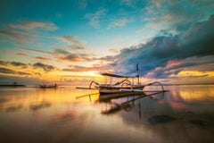 Bali, Asia - Photography Travel Waterfront Boats Nature Colour Sunset Dibond