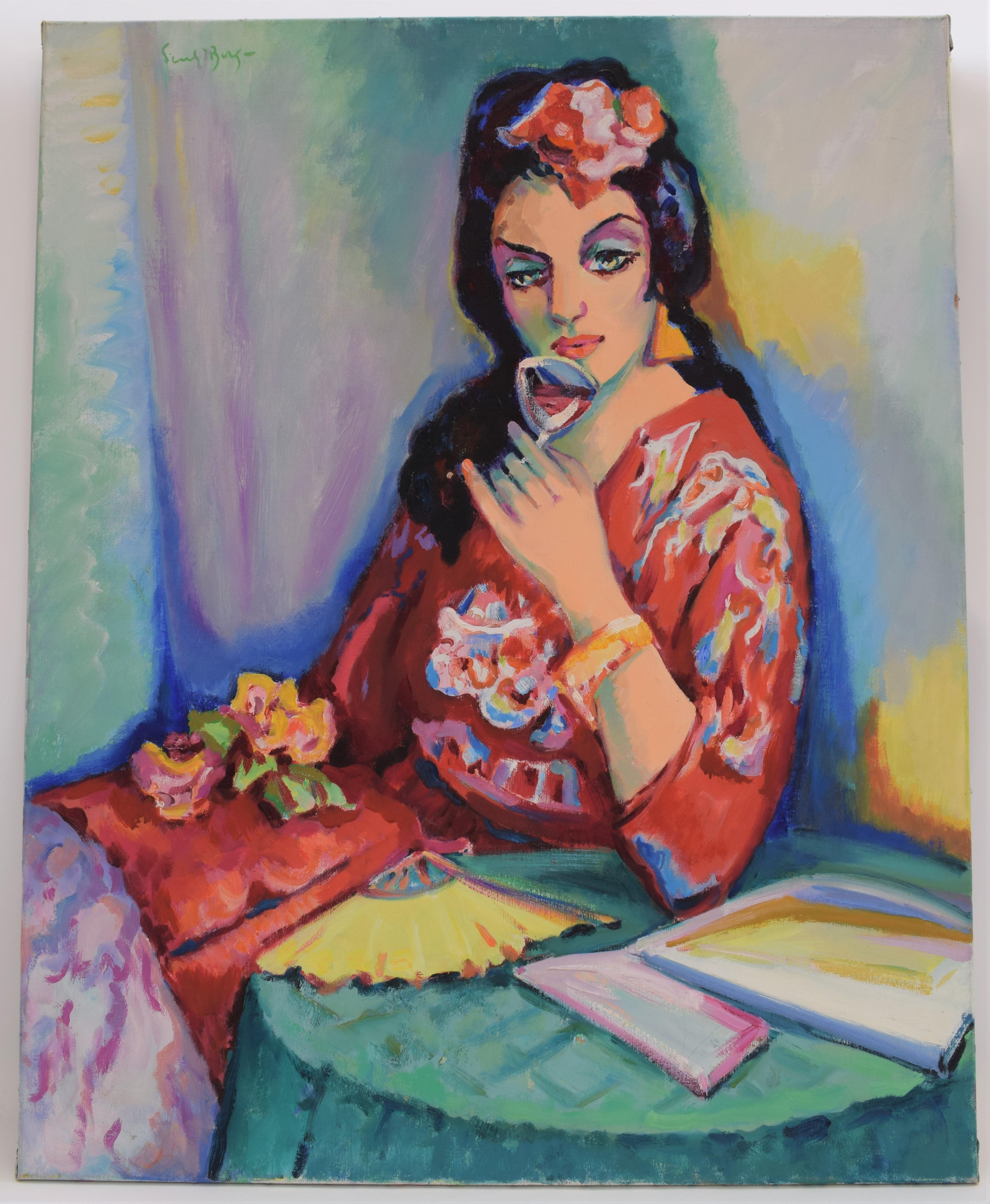 Senorita - Oil Paint on Canvas, Fauvist, Dutch Artist, Portrait, Painting