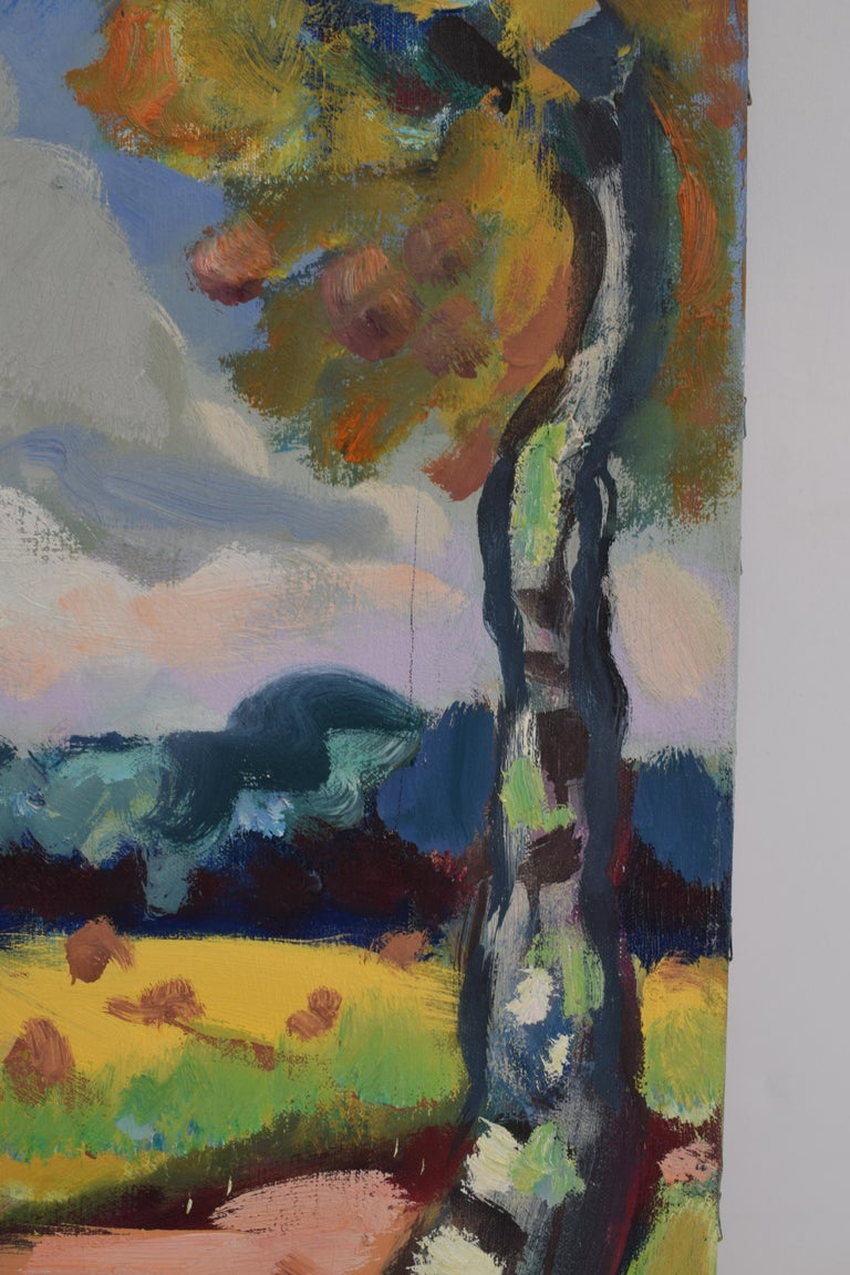 Landscape with mill - Oil Paint on Canvas, Fauvist, Dutch Artist, Painting For Sale 7
