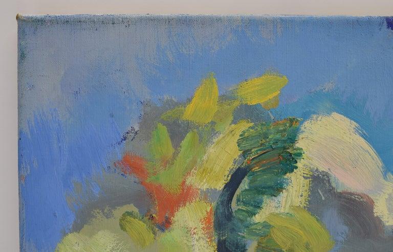Landscape with mill - Oil Paint on Canvas, Fauvist, Dutch Artist, Painting - Gray Landscape Painting by Freek van den Berg