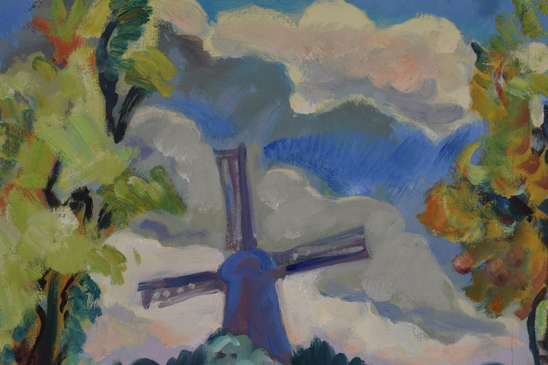 Landscape with mill - Oil Paint on Canvas, Fauvist, Dutch Artist, Painting For Sale 1