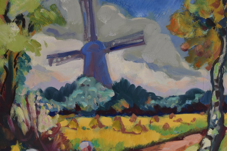 Landscape with mill - Oil Paint on Canvas, Fauvist, Dutch Artist, Painting For Sale 2