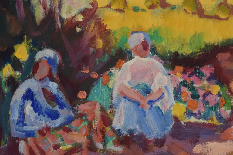 Landscape with mill - Oil Paint on Canvas, Fauvist, Dutch Artist, Painting For Sale 3